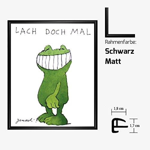 Kunstdruck Janosch - Lach doch mal 58 x 48 cm mit Kunststoff-Bilderrahmen & Acrylglas reflexfrei, viele Farben zur Auswahl, hier Schwarz Matt