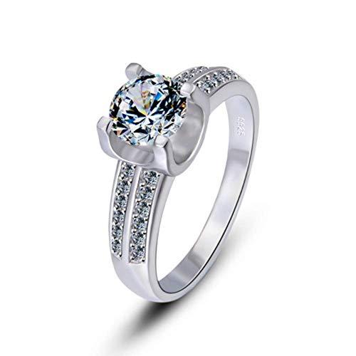 lem Abrillantador de anillosJuego de 4 Puntas con Diamantes Plata esterlina 925 Diamante Cuadrado Empresa Simple, Elegante y Generoso cumpleaños Regalos para Enamorados