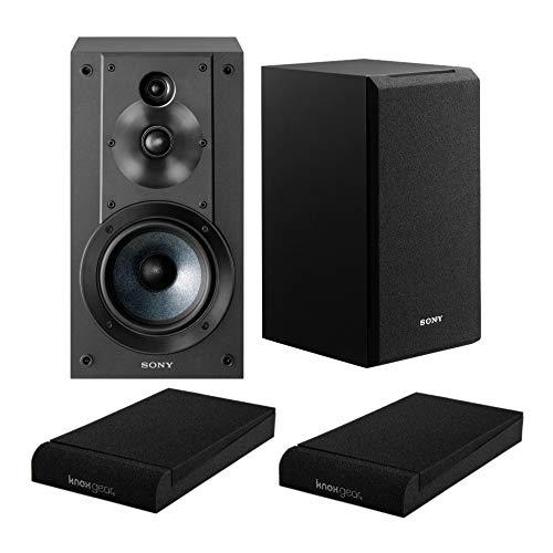 Sony SSCS5 3-Wege 3-Treiber Bücherregal Lautsprechersystem (schwarz) mit Isolationspads (2 Stück)