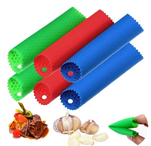 6 Set Silicone Tube Roller - Premium Quality Easy Roll Garlic Roller Tube - Sturdy Thick - Peels Multiple Cloves of Garlic in Seconds Garlic Peelers Odorfree Kitchen Tool