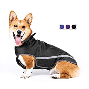 SENYE PET Dog Raincoat Lightweight Waterproof Clothes Ajustable Pet Dog Rain Jacket Poncho with Visibility Safety Strip Reflective & Leash Hole Dog Vest for Small Medium Large Dogs Puppy