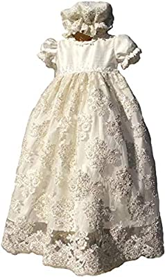 FAIOKAVER Lace Baptism Dresses Baby Girls Toddler Christening Gowns with Bonnet and Bib White