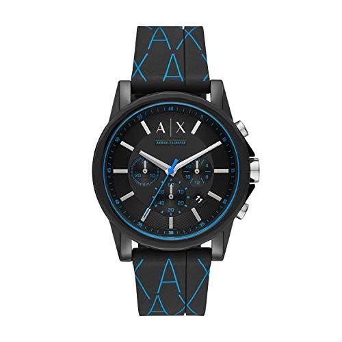 Emporio Armani Herren Chronograph Quarz Uhr mit Silikon Armband AX1342