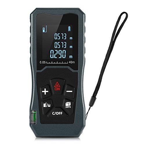 igitale misuratore di distanza laser, multiuso, palmare misuratore di distanza laser 40 m con schermo LCD retroilluminato, misurazione single-distance/misurazione continua/area/pitagora modi
