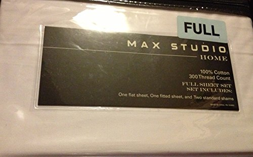 Max Studio Home 100% Cotton 300 Thread Count 4 Piece FULL Sheet Set - White