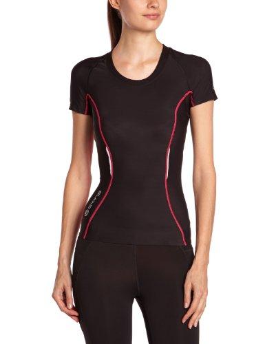 SKINS A200 Top Short Sleeve T-Shirt de Compression Femme Noir/Rose FR : S (Taille Fabricant : FS)