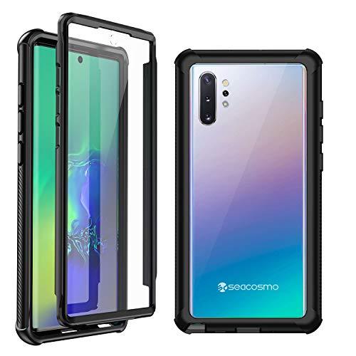 seacosmo Samsung Galaxy Note 10 Plus Cover, 360 Gradi Rugged Case Note 10 Plus Antiurto Trasparente Custodia con Protezione Integrata dello Schermo, Nero