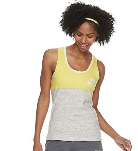 Nike Women's Gym Vintage Colorblock Tank (Large, Gray Yellow Sail)