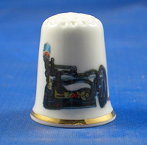 Porselein China Collectable Thimble zeldzame antieke naaimachine