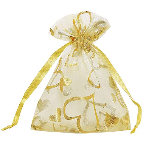 """SumDirect 100Pcs 3.35""""x4.53"""" Sheer Drawstring Heart Organza Jewelry Pouches Wedding Party Christmas Favor Gift Bags (Gold)"""