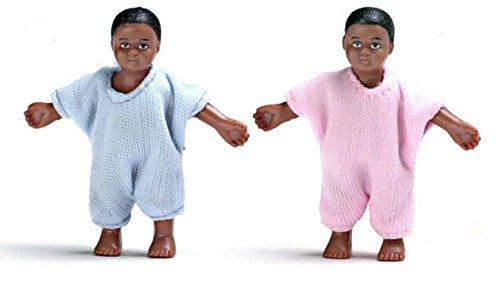 Aztec Imports Maison de Poupées Miniature 1:12 Échelle Personnages Jumeaux Noir Bébés Little Baby Boy & Fille