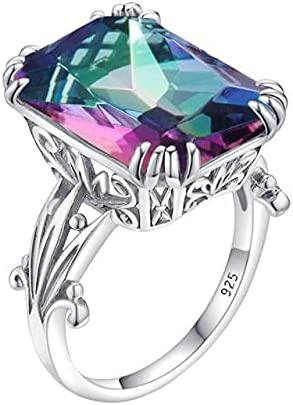 Gemstone Safety and trust Ring For Women Rainbow Silver Sterling 925 Topaz Los Angeles Mall Mystic