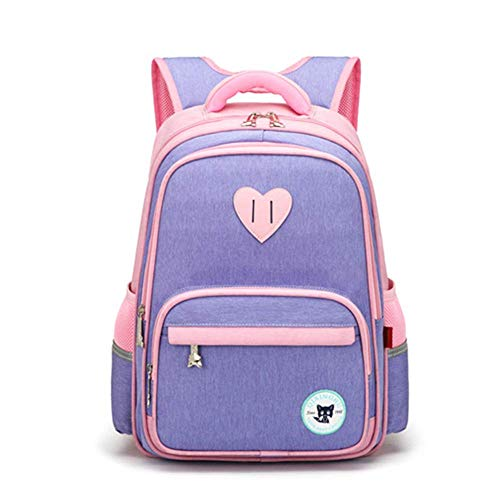 DHTOMC Primary school boys and girls children's school bag 26 grade backpack large capacity 813 years old blue pink Xping (Color : 2)