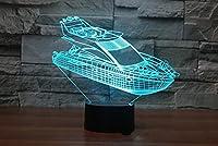 3Dヨットボートナイトライト7色ムードライトタッチスイッチUSBテーブルデスクLEDライトプレゼントキッズホームパーティーバースデーギフト