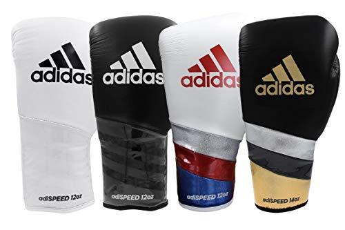 Adidas AdiSpeed Boxhandschuhe mit Spitze, für Fitnessstudio, Sparring, Training, Erwachsene, Herren, Damen, 340 g, 470 g, schwarz / weiß, 396,9 g (14 oz)