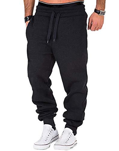 Frecoccialo Pantaloni da Jogging Uomo Cotone Sportivi Fitness Slim Fit Pantaloni della Tuta da Uomo con Coulisse Esercizio da Palestra (Nero, 3XL)