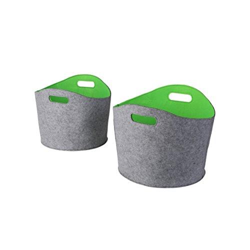 Kamino Flam Allzweckkörbe-Set 2tlg. aus gefilzten Kunststofffasern, Kaminholzkörbe in Grau-Grün, Aufbewahrungskörbe mit zwei Henkeln, Transportkörbe in 2 Größen