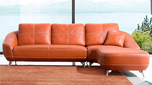 Zuri Modern Lucy Orange Italian Leather Sectional Sofa - Right Chaise