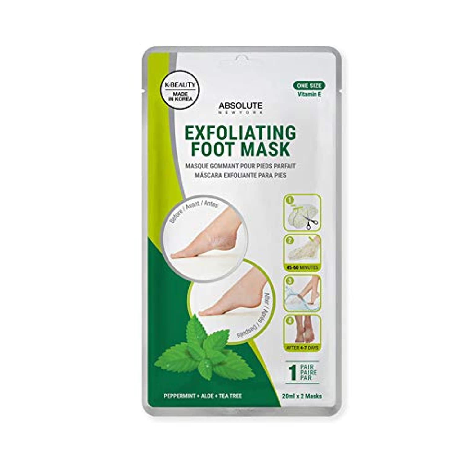 トピックアーチ辞任するABSOLUTE Exfoliating Foot Mask - Peppermint + Aloe + Tea Tree (並行輸入品)