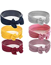 SNOWIE SOFT ® Baby Nylon Headbands Turban Knotted Girls Hairband Super Soft and Stretchy Hair Wrap , 6 pieces