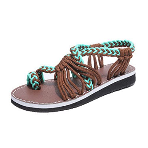 Shhyy Sandalias Planas para Mujer Chanclas para Mujer Sandalias Cómodas Verano Casual Zapatos Ligeros Impermeables Playa Caminatas Largas O Junto A La Piscina,Green Coffee,35