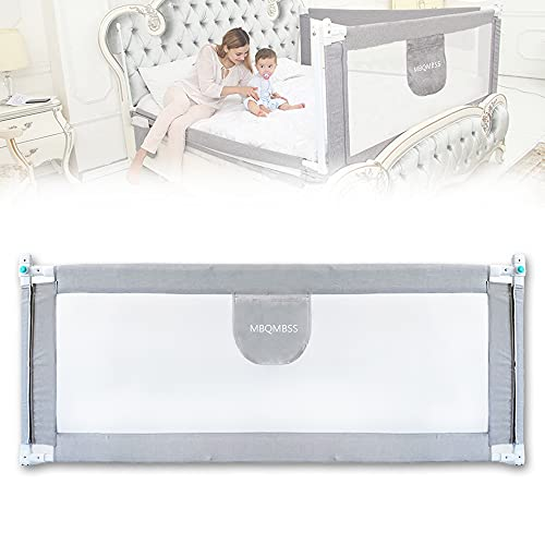 Baby Bed Rail with Adjustable Height (29'- 37'), Toddler Infant Safety Bed Guard Rail, Baby Protector Rails with Breathable Fabric for Queen King Twin Full Size Bed Mattress 77'x28' (80-1 Side)