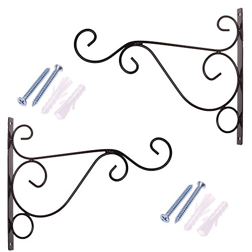 COSMOS Pack of 2 Black Iron Plant Hanging Hooks Wall Brackets for Planter Bird Feeder Lanterns Wind Chimes with Screws