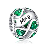 May Birthstone Charms 925 Sterling Silver...