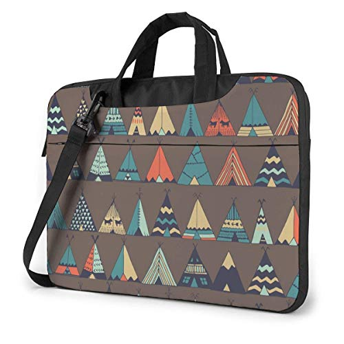 Ahdyr Cute Cartoon Teepee Native American Summer Tent Laptop Carrying Case Shoulder Bag Briefcase W/Strap Women Men 13'