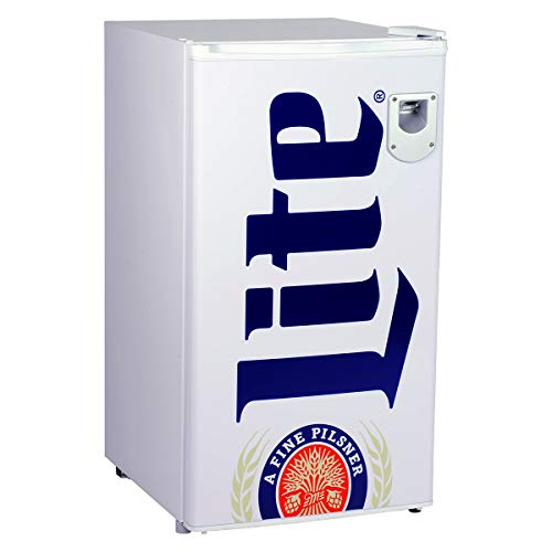 Miller Lite Compact Fridge with Freezer and Bottle Opener, 90 L/ 95 Quart 3.2 Cubic Foot for Snacks,...