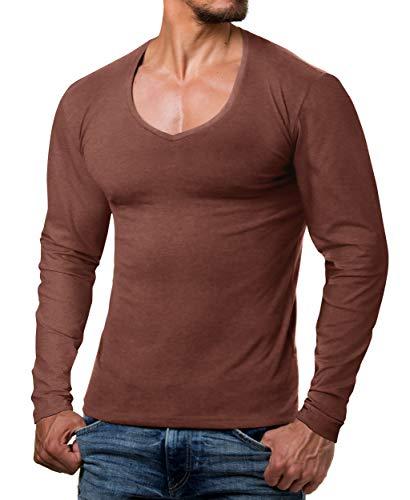 ReRock by Young & Rich Sweater- Camiseta de hombre de manga larga y cuello en V - Slim Fit de Longsleeve - Talla S hasta 3XL
