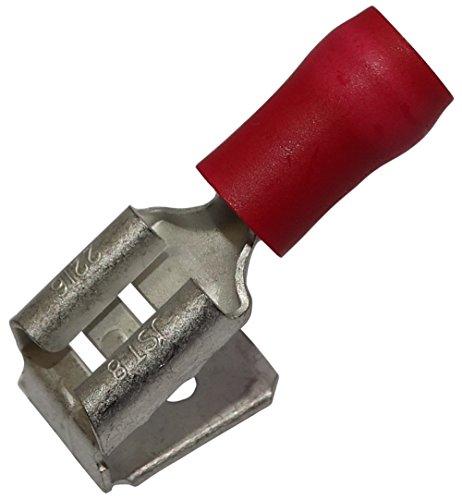 10x Cosse /électrique femelle plate 6.3mm 0.8mm 0.75-1.25mm2 isol/ée rouge Aerzetix