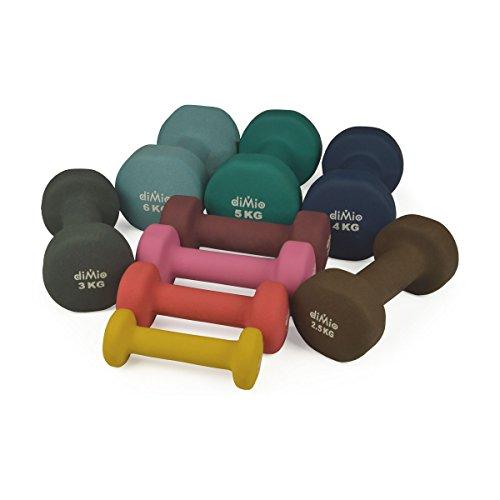diMio Mancuernas de neopreno 0,5-6kg en pack doble, agarre suave, para fitness, entrenamiento de resistencia y musculatura, 2x 0,5 kg Gelb, 2x 0,5 kg Gelb