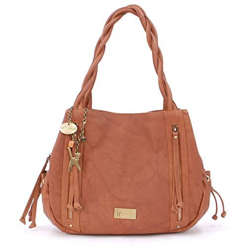 Catwalk Collection Handbags - Vera Pelle - Borsa a Spalla/Borse a Mano/Tote - Con Ciondolo a Forma di Gatto - Caz - MARRONE CHIARO