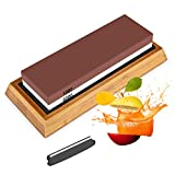 Sharpening Stone, 2 in 1 Knife Sharpener, 1000/6000 Grits Whetstone with Angle Guide