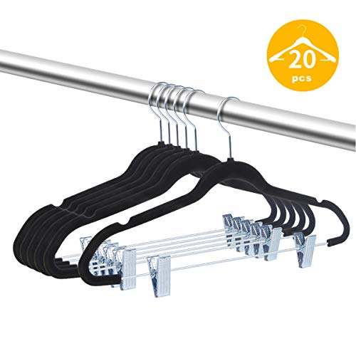 TIMMY Velvet Hangers with Clips 20 Pack Non Slip Velvet Clothes Hangers Ultra Thin for Pants Hangers Skirt Hangers with Swivel Hooks(Black)