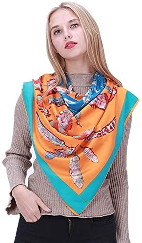 CHEDENG Envoltura de Chal de Bufanda de Cuello de Moda Seda Bufanda Mujer Protector Solar impresión Playa Toalla Azul Aire Acondicionado Chal (Color : Blue)