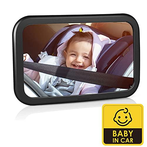 Espejo Retrovisor Coche para Bebé - Espejo para Asientos Traseros para Vigilar el Bebé, 360° Rotación Gran Tamaño, 100% Inastillable, Fácil Instalación y Irrompible, Universal Espejo Coche Bebe