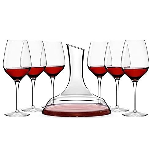 MQQ Juego De 7 Piezas Decantador De Whisky De Vidrio, 1570 Ml + 430ml Dispensador De Decantación, 6 Copas De Vidrio-Cristal De Cristal Jarra De Cristal Regalo De Vino Accesorios De Vino