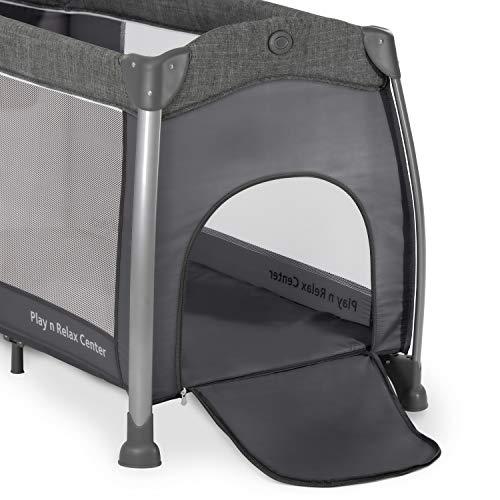 Hauck Play'n Relax Center Reisebett, 7-teiliges, ab Geburt bis 15 kg, faltbar und kippsicher, mit Neugeborenen Einhang, Wickelauflage, seitlicher Ausstieg, Netztasche, Räder, Transporttasche, grau - 14