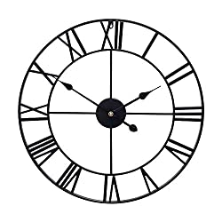 Little kuku 24 Inch Farmhouse Large Wall Clock European Retro Clock with Roman Numerals, Metal Vintage Decorative Big Oversized Wall Clock for Home/Loft/Living Room/Kitchen, Black