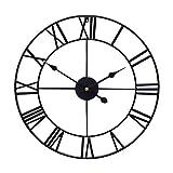 Little kuku 32 Inch Farmhouse Large Wall Clock European Retro Clock with Roman Numerals, Metal Vintage Decorative Big Oversized Wall Clock for Home/Loft/Living Room/Kitchen, Black