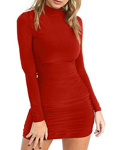 TOB Women's Sexy Stand Neck Long Sleeve Ruched Bodycon Mini Club Dress Red