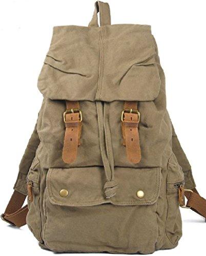 AM LandenRucksack Canvas Backpack Genuine Leather Straps(Khaki)