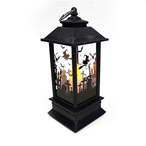 StageOnline Halloween LED Lighthouse Simulation Flame Lanterns with Pumpkin/Ghost Hand/Witch Pattern Desktop Decoration Props (Color : C)