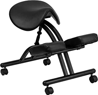 Emma + Oliver Ergonomic Kneeling Office Chair with Black Saddle Seat