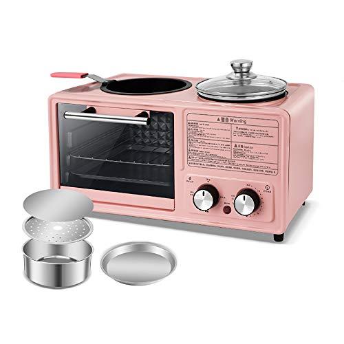 SSZZ Home Multifunktionale Frühstücksmaschine Vier in Einem Gebratenen Braten Automatische Elektrogerät Antihaft Leicht Zu Reinigen,Rosa,B