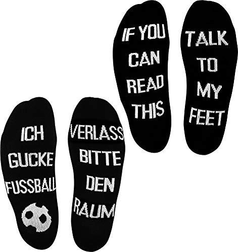 normani 2 Paar Lustige Socken Herrensocken mit verschiedenen Sprüchen - Geschenkidee Farbe Fussball/Feet