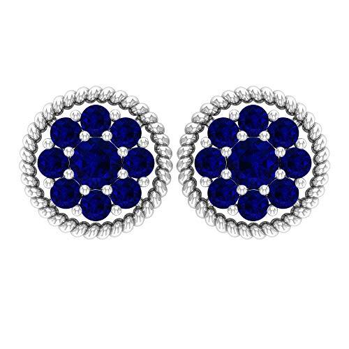 Pendientes de zafiro azul creado en laboratorio de 1/4 quilates, aretes de oro, rosca trasera azul