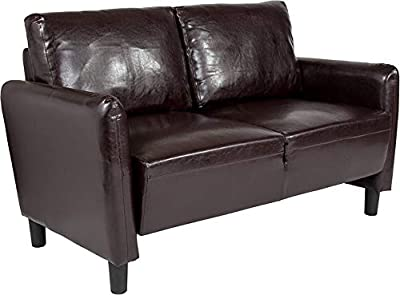 Amazon.com: Leather Match Loveseat 2 Seater, Living Room ...